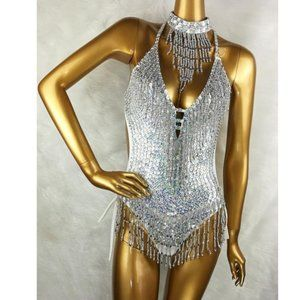 Tops - Custom Made Sexy Beaded Sequined Bodysuit